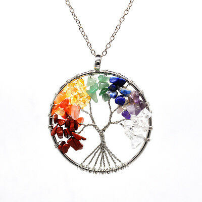 Tree Of Life 7 Chakra Natural Stone Quartz Beads Twist Necklace Silver Plated