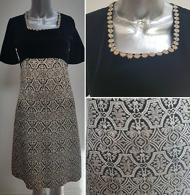 Vintage Black & Gold Cocktail Dress Size 8/10 Black Velvet Gold Brocade 1960 Mod