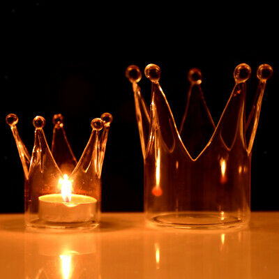 Crown Glass Candle Holder Tealight Candlestick Event Party Table Centerpiece