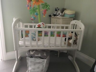 John Lewis Anna Swinging Crib White - With Mattress - Excellent condition