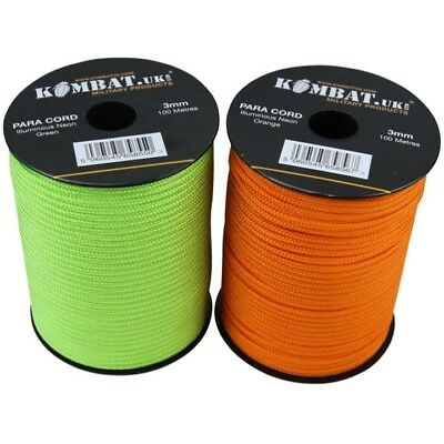 100m PARA CORD REEL ARMY SAFETY GUIDE ROPE NEON GREEN 3MM BASHA TENT