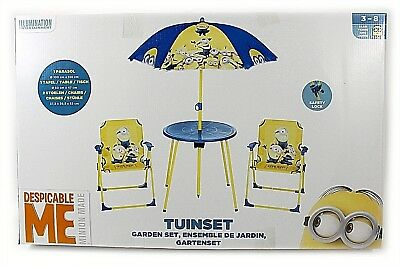 Minions Parasol Table And Chairs Umbrella Outdoor Garden Patio Children Set Play