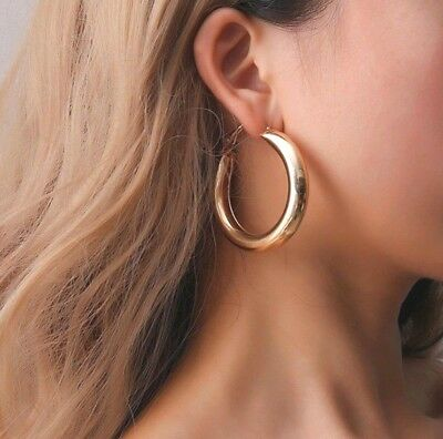 New Large Statement Chunky Wide Hoop Leverback Gold Silver Earrings  Uk Seller