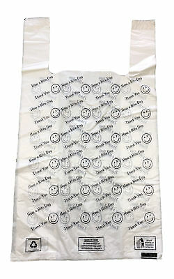 "SMILEY THANK YOU PLASTIC VEST CARRIER BAG 12"" x 18"" x 22"" XL SIZE STRONG 20MU"