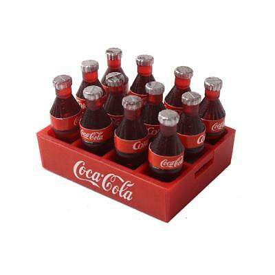 12 Coca Cola Coke Bottles in Crate Miniature 1:10 Dollhouse Dink Toy Gift Decor
