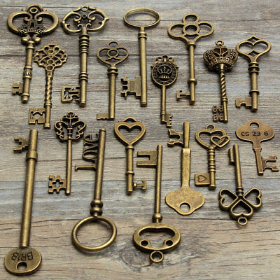 18 Assorted Antique Retro Large Skeleton Keys Bronze Steampunk Pendant Gifts