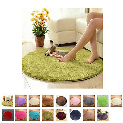 Fluffy Rugs Anti-Skid Shaggy Area Rug Floor Mat Room Home Bedroom Carpet Round