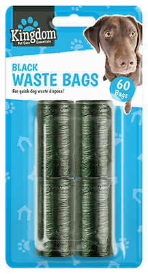 Black Doggy Bags Pet Pooper Scooper Bag Dog Cat Poo Waste Toilet 60 Refills Roll