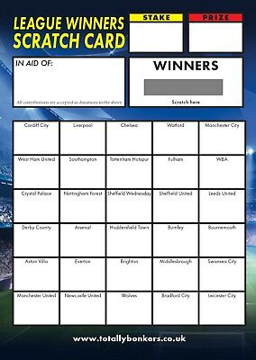 Football (League Winners) Scratch Card A6 - 30 Teams - Great For Fundraising