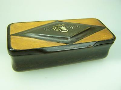 Vintage antique hinged horn snuff box with inlay decoration                 3783