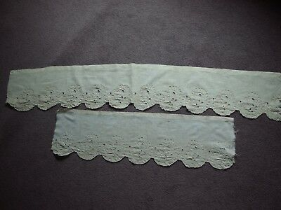 2 Antique embroidered lace curtain curtain pelmet valance