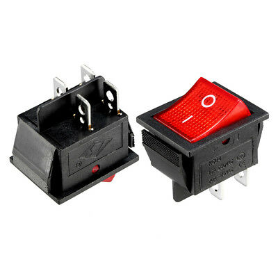 5pcs AC 250V/16A 125V/20A 4P I/O 2 Position Snap-in Boat Rocker Switch Red Black