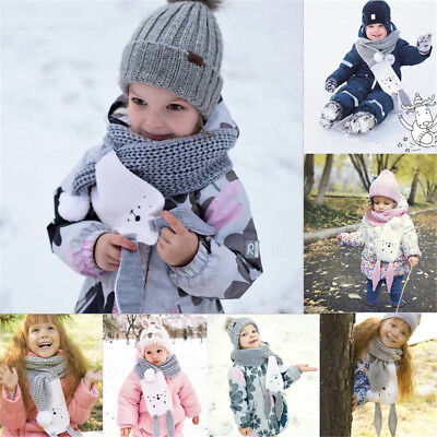 Winter Keep Warm Children Fashion Knitted Scarves Rabbit Ears Scarf  Kids Gifts