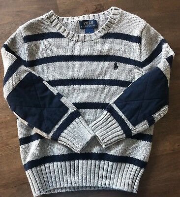 Boys 4T Sweater Polo Ralph Lauren Grey W/ Blue Stripes + Elbow Patch