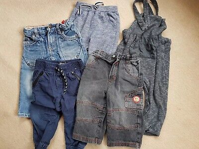 Boys Trousers Jogging Bottoms Dungarees Bundle Size 12-18 Months