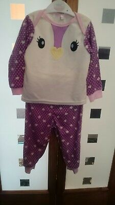 Girls velour penguin pyjamas age 12-18 months