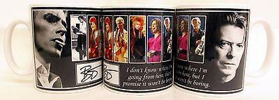 David Bowie Mug Tribute David Bowie Words Ceramic Mug Hand Decorated in UK