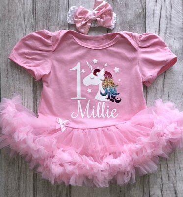 PERSONALISED 1ST BIRTHDAY TUTU Romper, Baby Girl 1 Unicorn and Name Party Dress