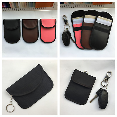 Car Key Signal Blocker Faraday Bag Keyless Fob RFID Blocking Leather Pouch Case