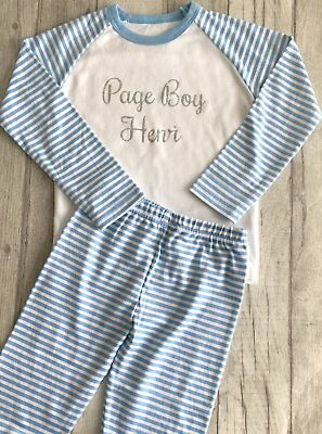 PERSONALISED PAGE BOY PYJAMAS, Wedding Gift Blue and White PJs Silver Glitter