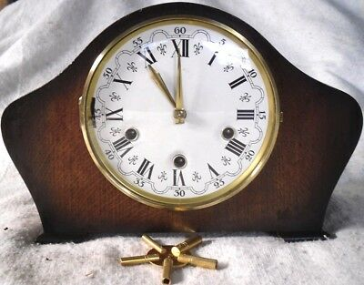 Vintage 1930s Smiths Enfield Wooden Westminster Chime Mantel Clock, Restored.