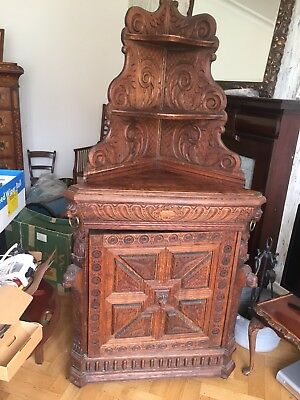 Large Oak Corner Cupboard