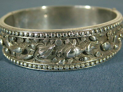 Antique Naturalistic Crustacean Chinese Silver Bangle Bracelet Hallmarked