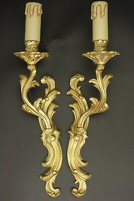 Pair Of Sconces Stamped, 1 Light, Louis Xv Style - Bronze - French Antique
