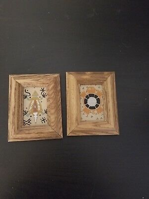 Set of 2 sand art paintings framed native american art Arizona