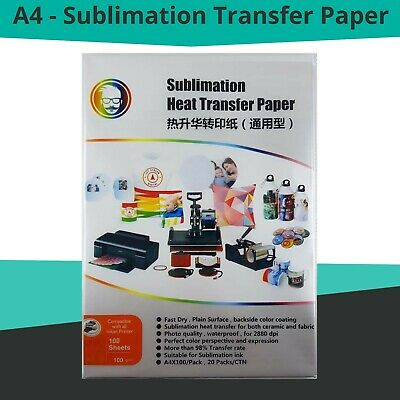 100 Sheets Quality A4 Dye Sublimation Paper Desktop Inkjet Printer Heat Transfer