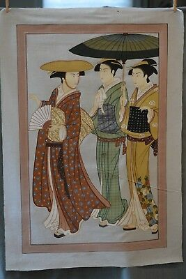 Fantastic large Japanese original painting, Three Geisha 45.5 x 32 inches