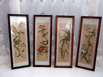 Vintage Chinese Watercolours On Fabric X 4