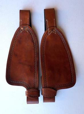 """Dark Tan Smooth leather fenders for 10"""" saddle Replacement stirrup Fenders ONLY"""