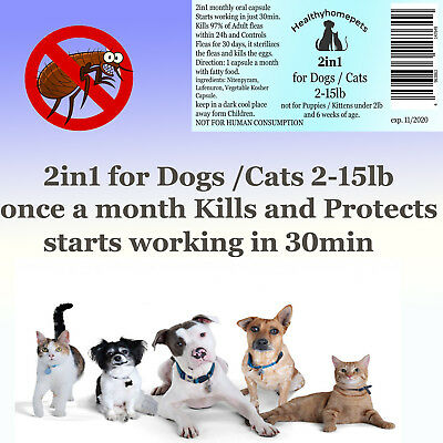 2in1 Fea Killer Control for Dogs /Cats 2-15lb 6 month prevention starts in 30min