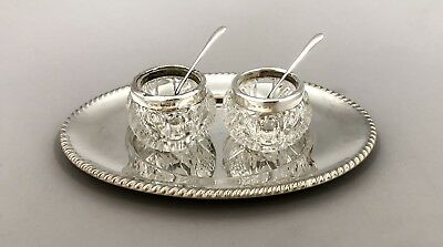 Antique sterling silver topped pair 2 salt pepper cellars mustard pot dish spoon