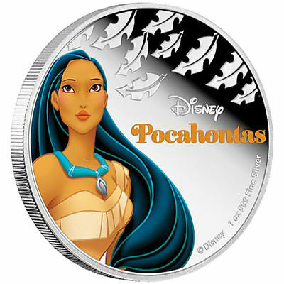 POCAHONTAS - 2016 1 oz Silver Color Proof Coin - DISNEY Princess Series