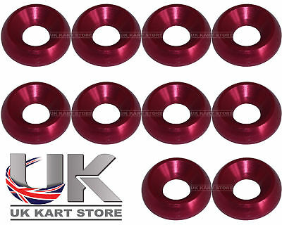Aluminium Alloy Washers Countersunk M6 Red Pack of 10 18 x 4 x 6mm CSK Go Kart