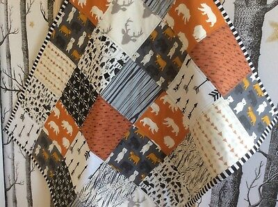 Adventure Baby Boy Patchwork Cot Quilt Bear Stags Arrows  Or Play Mat