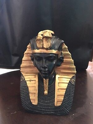 Ancient Egyptian Pharaoh King Tut Bust Mask Statue Tutankhamun Decor Figurine