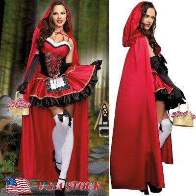 Adult Little Red Riding Hood Cape Party Fancy Dress Women For Halloween Costume