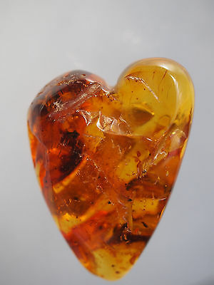 """8g Large Baltic Amber Puffy Heart Shape Nugget w/ Inclusion Pin Brooch Vtg 1.75"""""""