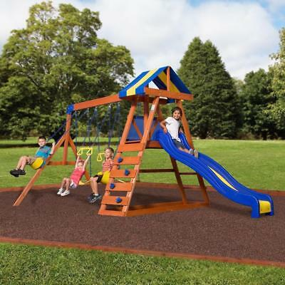 Backyard Discovery Dayton Cedar Wooden Swing Set With 8 Ft Slide And