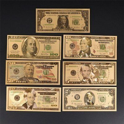 7 Pieces of gold foiled  Gold banknotes