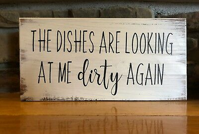 Funny Dishes Sign Rustic Home Decor Hand Made Farmhouse Primitive Humor Kitchen