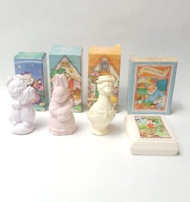Lot of 4 Avon Kids Mother Goose Pinnocchio Goose Bunny Cat Collectible Soap