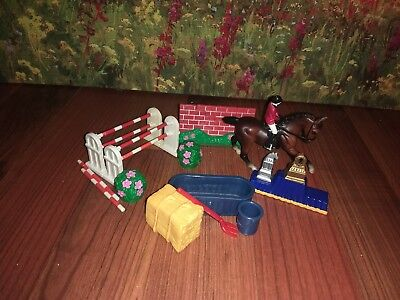 Breyer Stabelmate Lot with Horse and Rider, Jumps, and Other Accessories!!