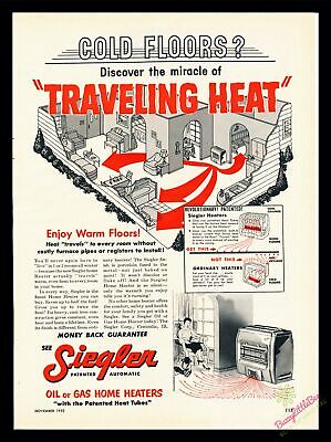 Print Ad~1955~Siegler Oil or Gas Home Heaters~Traveling Heat~Floors~Color~I300