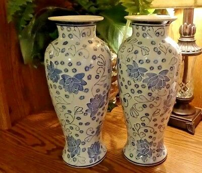 """Beautiful Pair Of 12"""" Tall Blue And White Vintage Chinese Oriental Vases"""