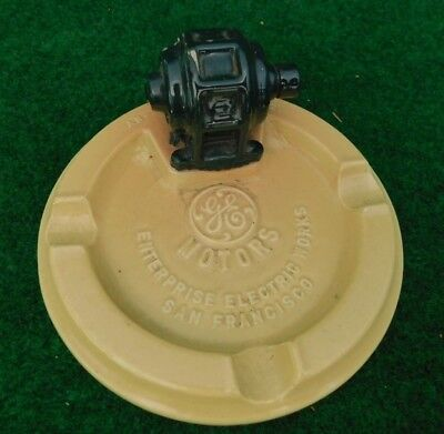G E General Electric Advertising Ashtray Motor Display Enterprise Electric Works