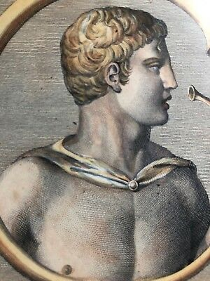 Masquelier French Antique Engraving Hand Colored Stunning Roman Greek Man
